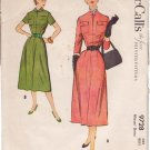 McCALL'S VINTAGE 1954 PATTERN 9728 MISSES' DRESS IN 2 VARIATIONS SIZE 12