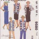 McCALL'S PATTERN 9580 MISSES' JACKET, VEST, DRESS, TOP,SKIRT,PANTS,SHORTS SZ 12