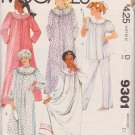 McCALL'S VINTAGE PATTERN 9301 MISSES' NIGHTGOW, PAJAMAS, ROBE, CAP SIZE XSMALL