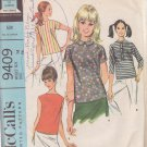McCALL'S VINTAGE PATTERN 9409 MISSES' BLOUSE IN 4 VARIATIONS SIZE 14