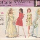 McCALL'S VINTAGE PATTERN 9758 MISSES' BRIDES, BRIDESMAID DRESS 2 STYLES SIZE 14