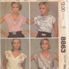 McCALL'S PATTERN 8863 MISSES' TOPS IN 4 VARIATIONS SIZE SMALL 10/12