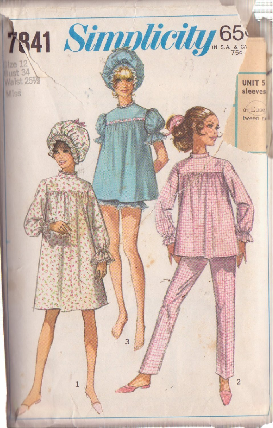 SIMPLICITY PATTERN 7841 SZ 12 MISSES' PAJAMAS IN 2 LENGTHS, NIGHTGOWN CURLER CAP