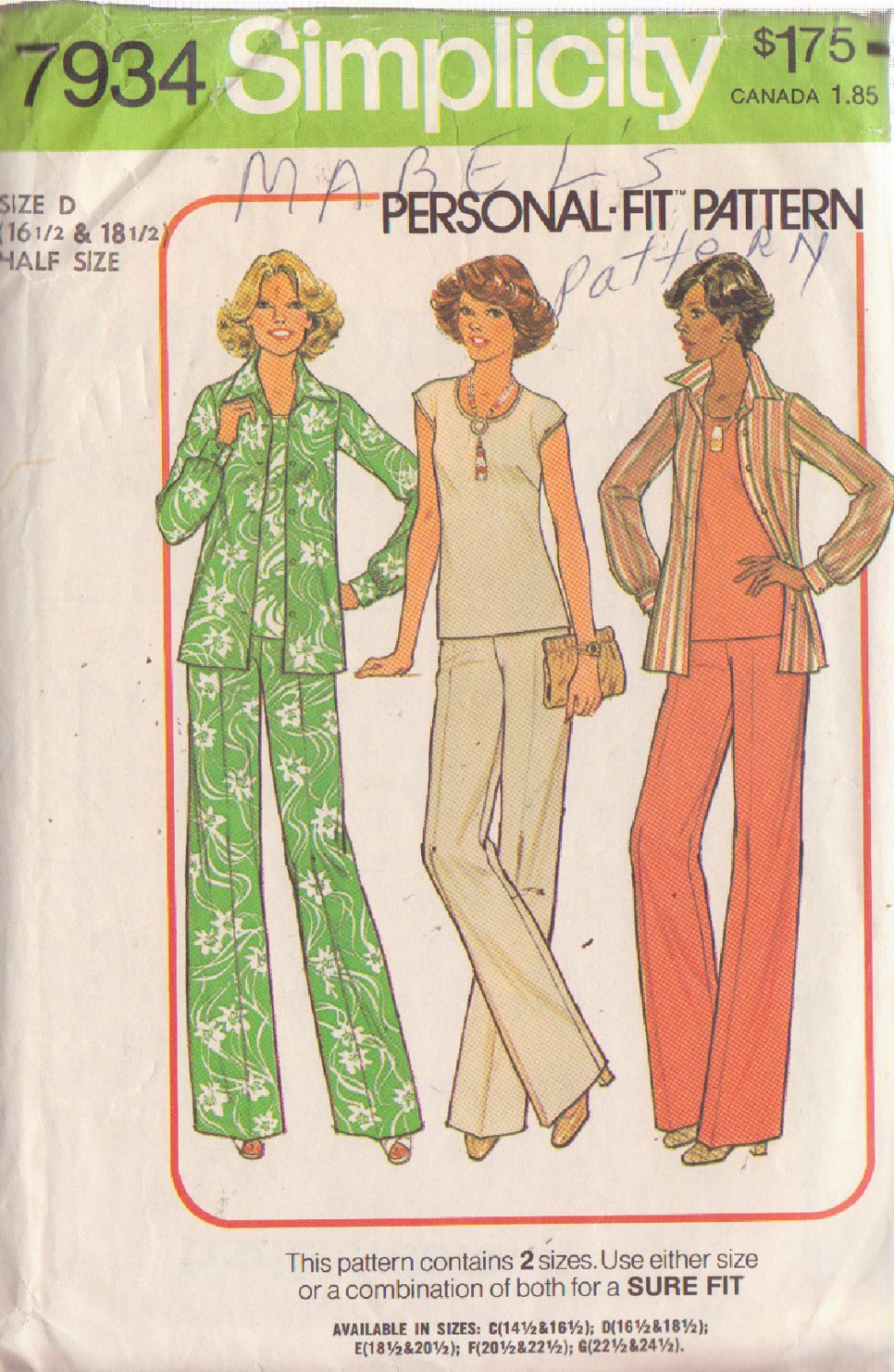SIMPLICITY PATTERN 7934 MISSES' PANTS, TOP, SHIRT SIZES 16 1/2 - 18 1/2
