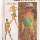 SIMPLICITY PATTERN 8558 MISSES TUBE TOP, BIKINI, SHORTS, SKIRT SZS 6/8/10 UNCUT