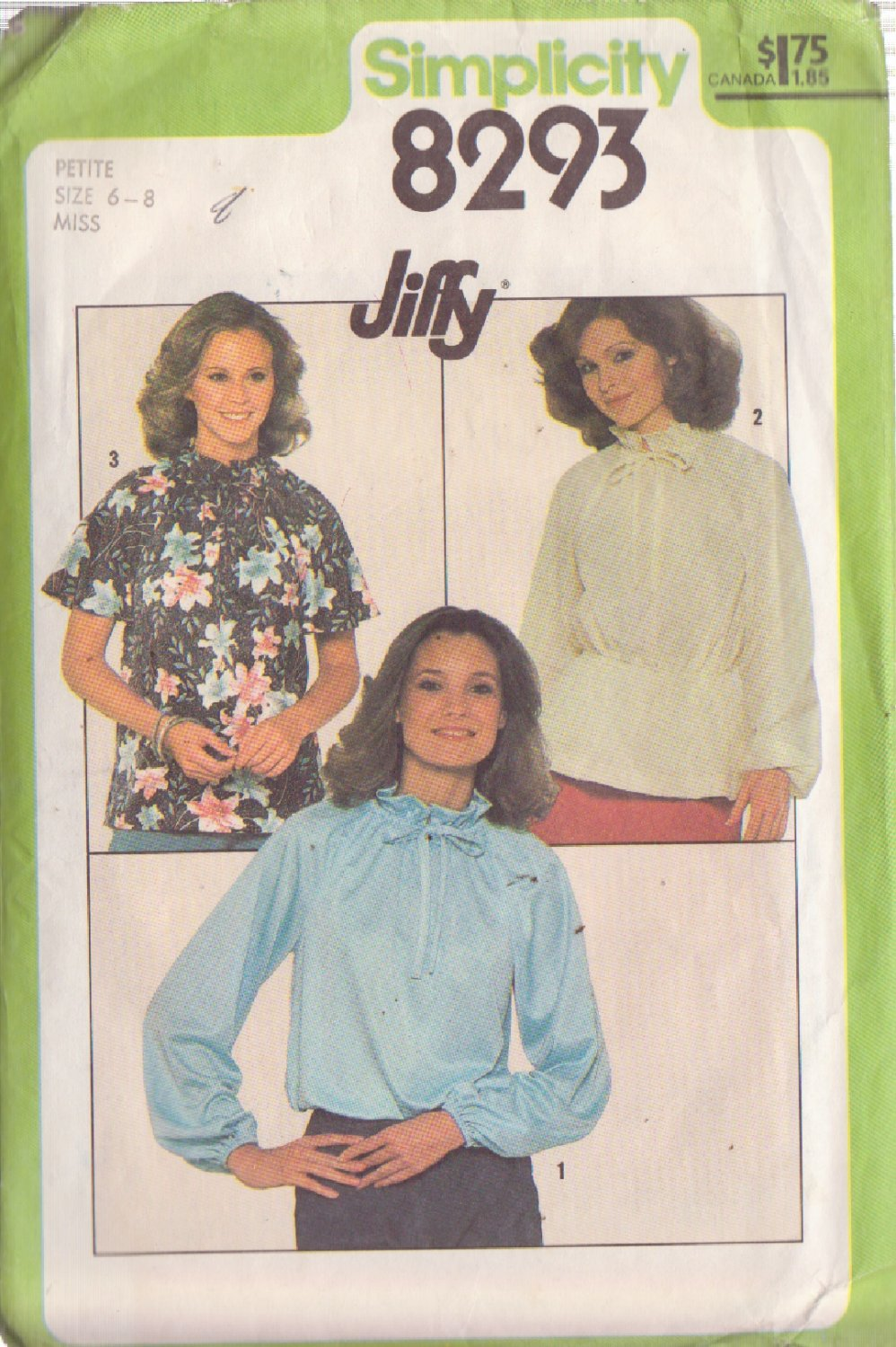 SIMPLICITY PATTERN 8293 MISSES PULLOVER BLOUSE IN 3 VARIATIONS SIZE 6/8