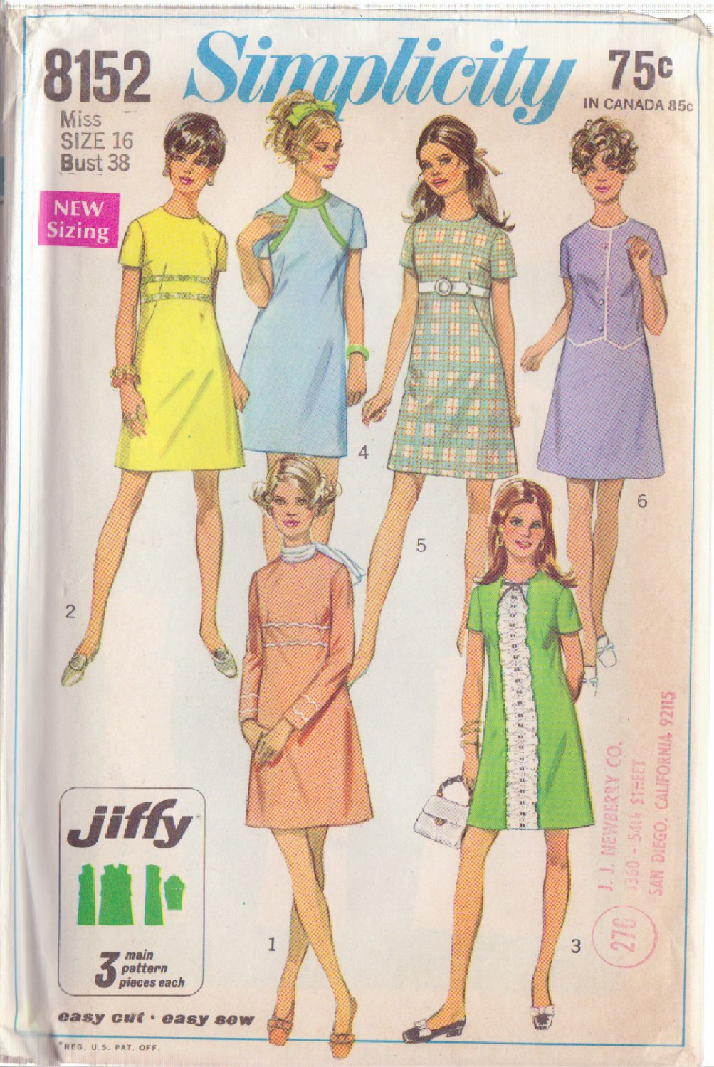 SIMPLICITY PATTERN 8152 MISSES' JIFFY DRESS IN 6 VARIATIONS SIZE 16