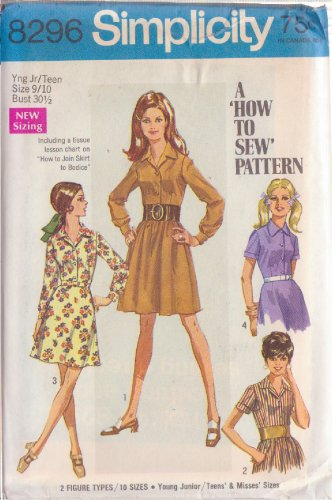 SIMPLICITY VINTAGE PATTERN 8296 YNG JR/TEEN SHIRT DRESS WITH 2 SKIRTS SZ 9/10