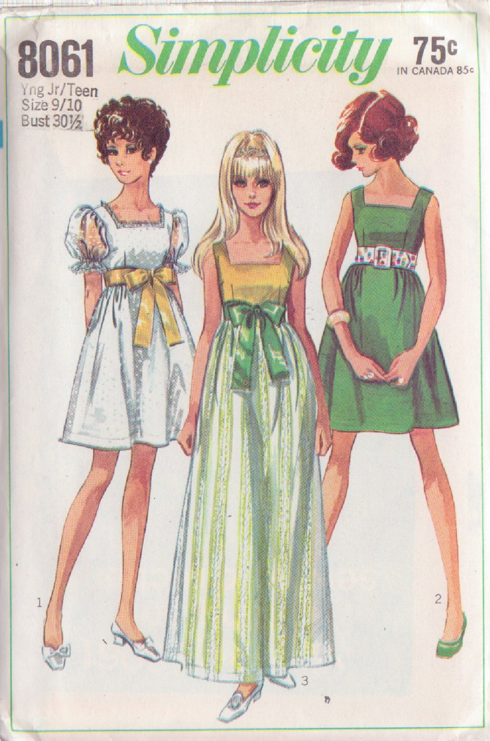 SIMPLICITY VINTAGE PATTERN 8061 YNG JR/TEEN DRESS IN 2 LENGTHS SZ 9/10