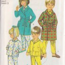 SIMPLICITY VINTAGE PATTERN 8291 SIZE 2 CHILD'S ROBE AND PAJAMAS IN 2 VARIATIONS
