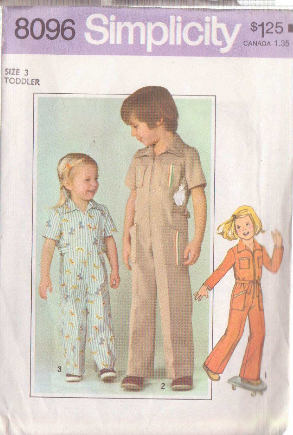 SIMPLICITY VINTAGE PATTERN 8096 SIZE 3 CHILD'S JUMPSUIT IN 3 VARIATIONS