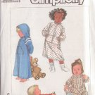 SIMPLICITY VINTAGE PATTERN 8326 CHILD'S ROBE 2 LTHS,SLEEPER  2 VARIATIONS SIZE 4