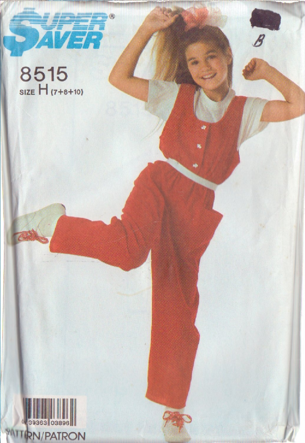 SIMPLICITY VINTAGE PATTERN 8515 CHILD'S EASY TO SEW JUMPSUIT SIZES 7+8+10 UNCUT