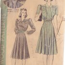 HOLLYWOOD PATTERN 431 MISSES' 1940'S 1 PC DRESS 2 VERSIONS SIZE 12 WENDY BARRIE