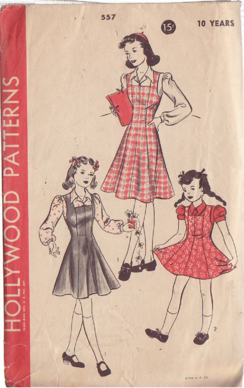 HOLLYWOOD VINTAGE PATTERN 557 CHILD'S PINAFORE, JUMPER, BLOUSE SIZE 10 YEARS