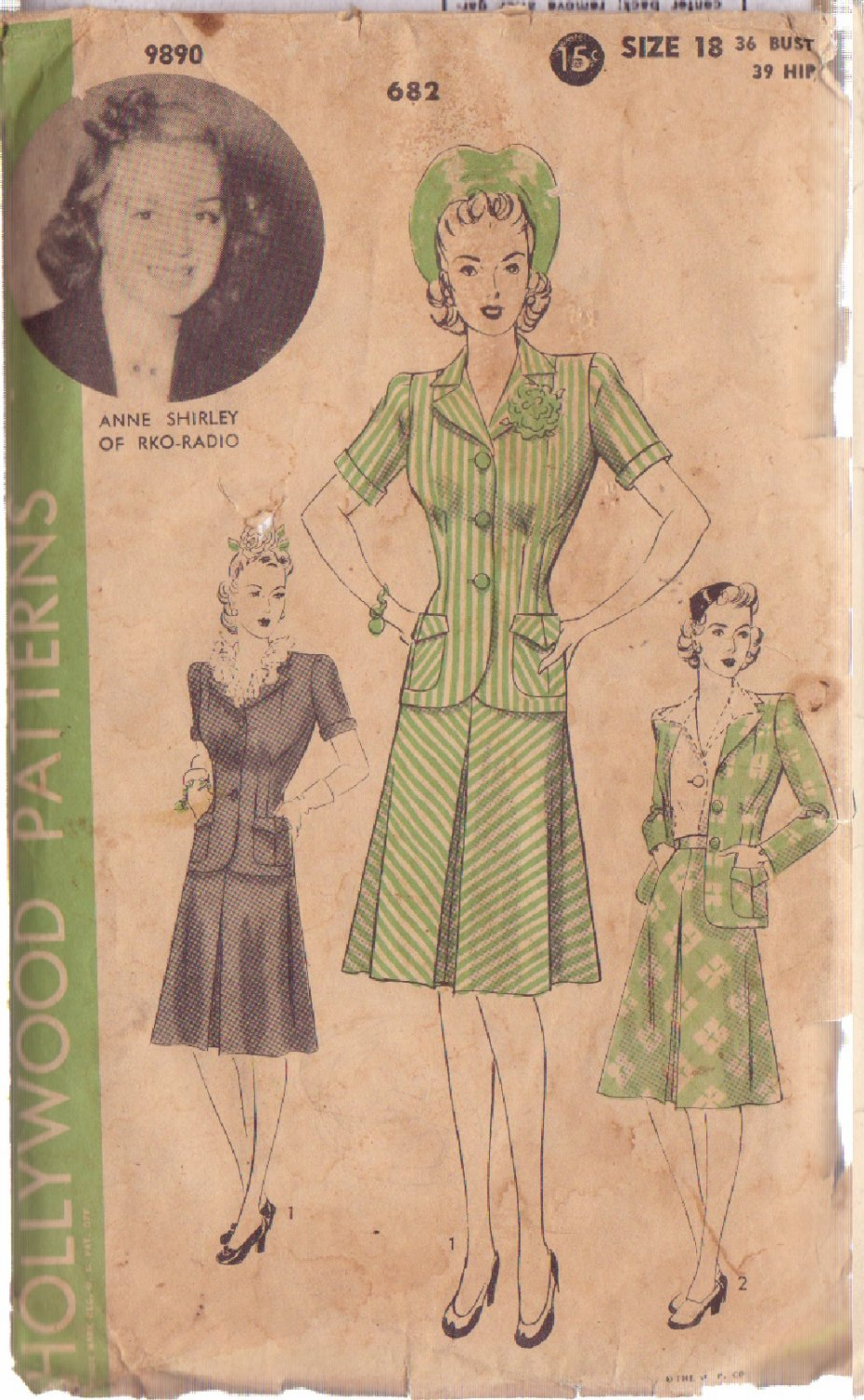 HOLLYWOOD VINTAGE PATTERN 682 MISSES� 2 PIECE SUIT 2 VERSIONS SZ 18 ANNE SHIRLEY