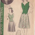 HOLLYWOOD PATTERN 654 MISSES' 1940'S WESKIT, SKIRT SIZE 16 PRISCILLA LANE