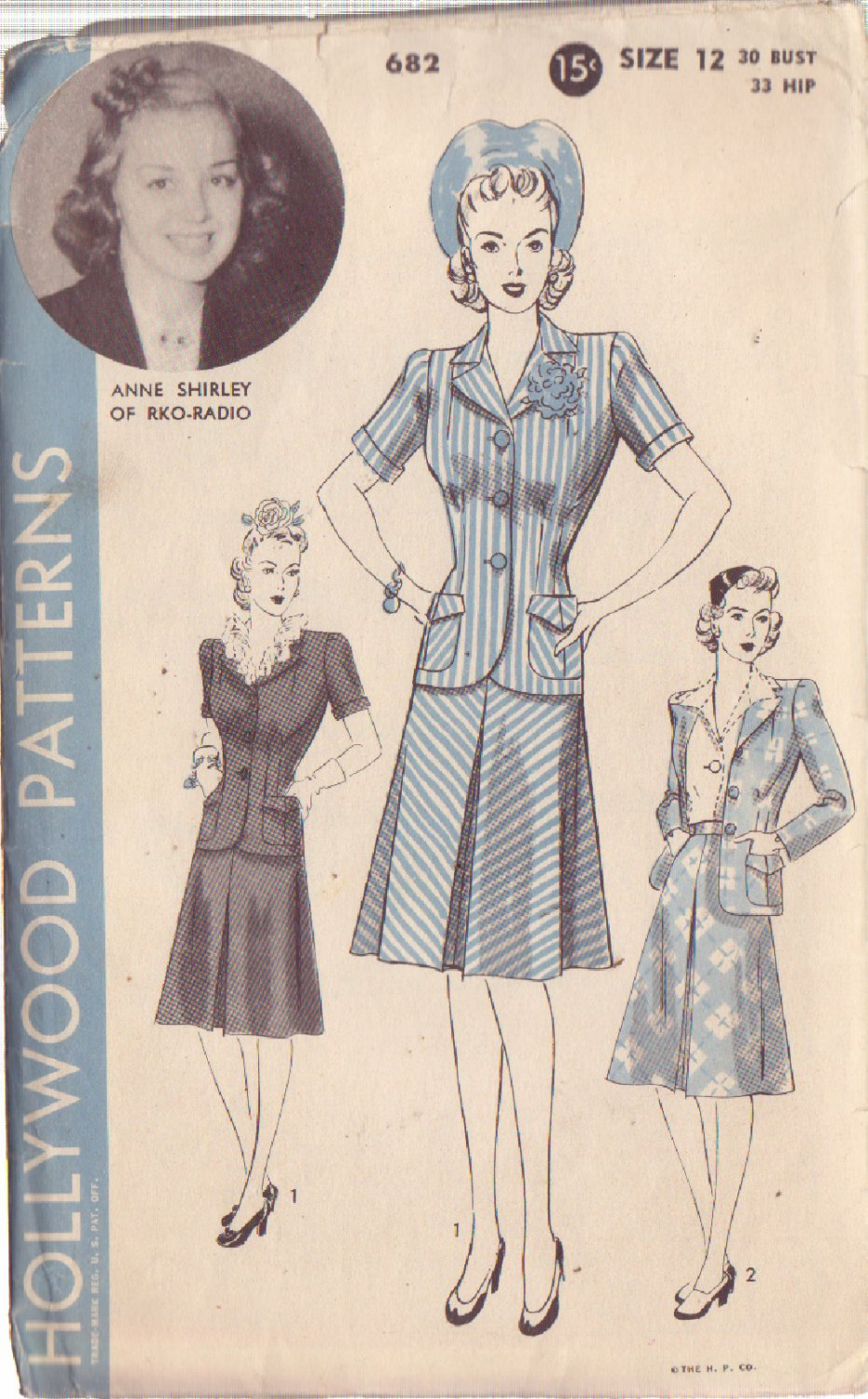 HOLLYWOOD PATTERN 682 MISSES� 2-PIECE SUIT 2 STYLES SIZE 12 ANNE SHIRLEY