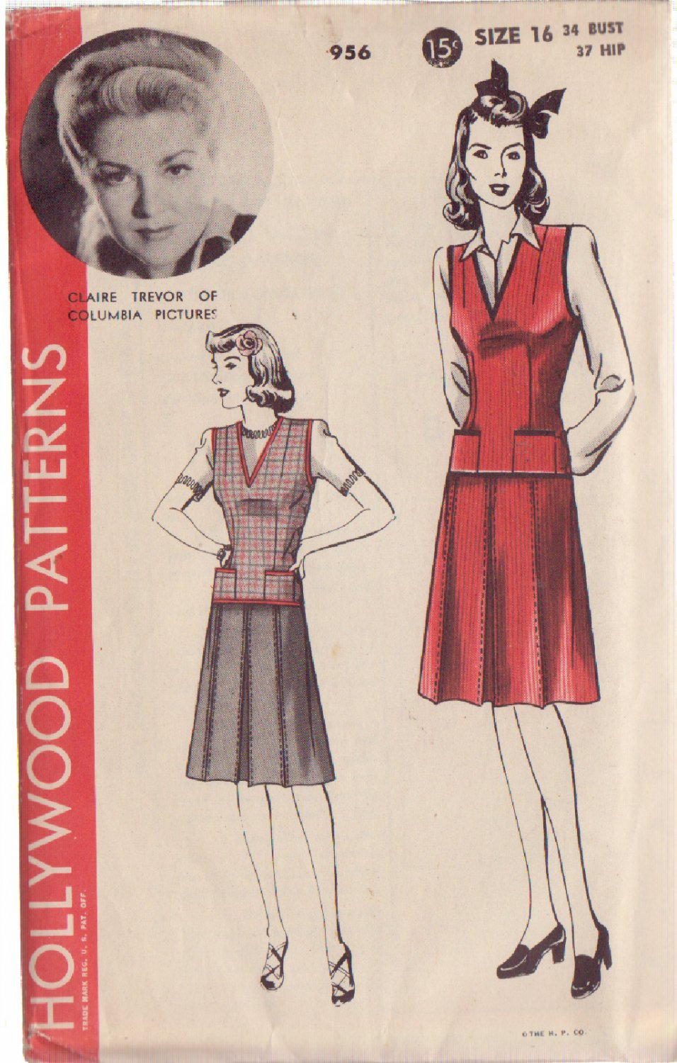 HOLLYWOOD PATTERN 956 MISSES� 1940'S JERKIN AND SKIRT SIZE 16 CLAIRE TREVOR