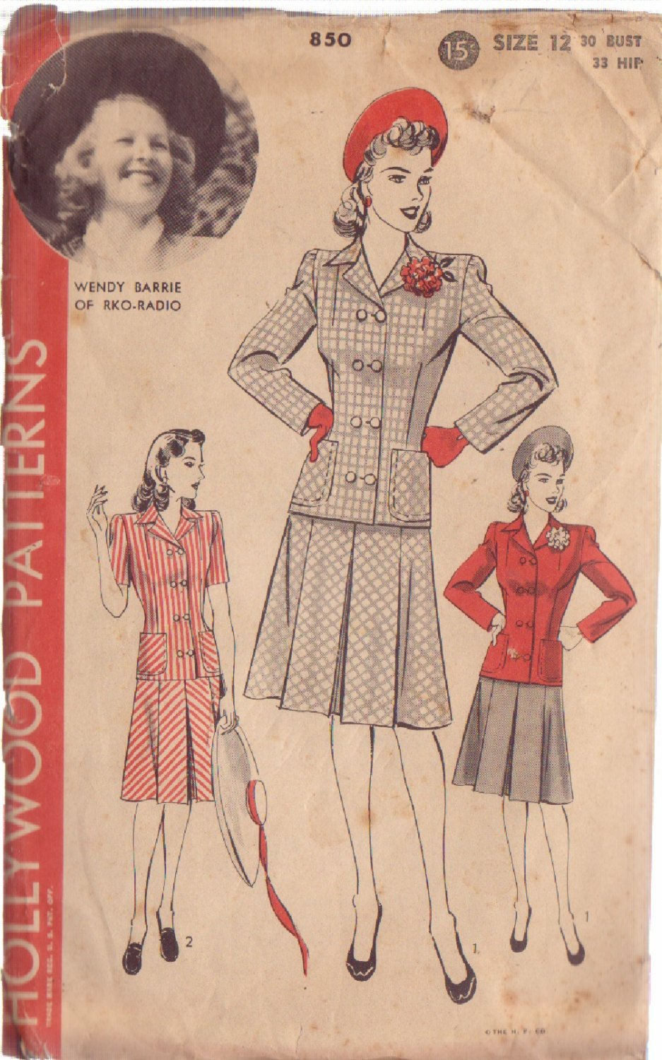 HOLLYWOOD PATTERN 850 MISSES' 2 PIECE SUIT 2 STYLES SIZE 12 WENDY BARRIE