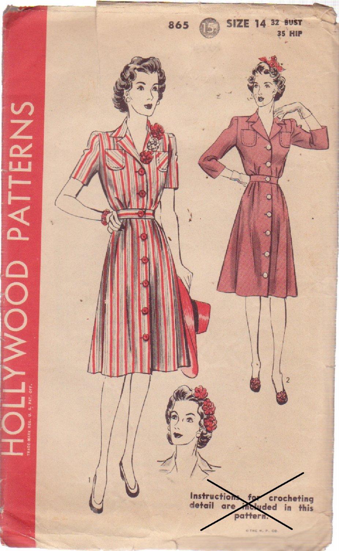 HOLLYWOOD VINTAGE PATTERN 865 MISSES' 1 PIECE SHIRTWAIST DRESS 2 STYLES SIZE 14