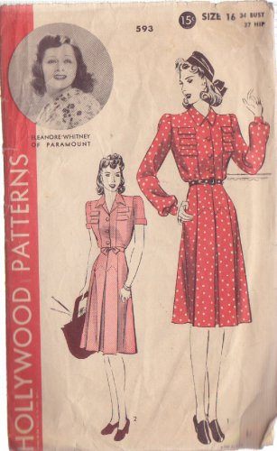 HOLLYWOOD PATTERN 593 MISSES� 1940'S DRESS 2 VARIATIONS SZ 16 ELEANORE WHITNEY