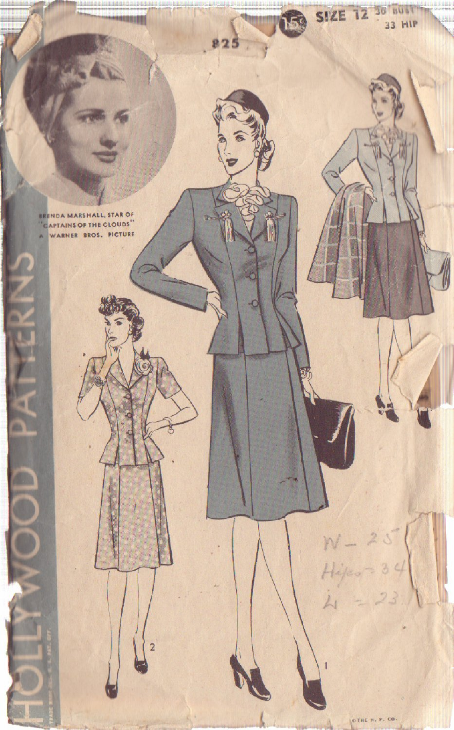 HOLLYWOOD PATTERN 825 MISSES� 2 PIECE SUIT SIZE 12 BRENDA MARSHALL