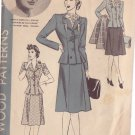 HOLLYWOOD PATTERN 825 MISSES' 2 PIECE SUIT SIZE 14 BRENDA MARSHALL