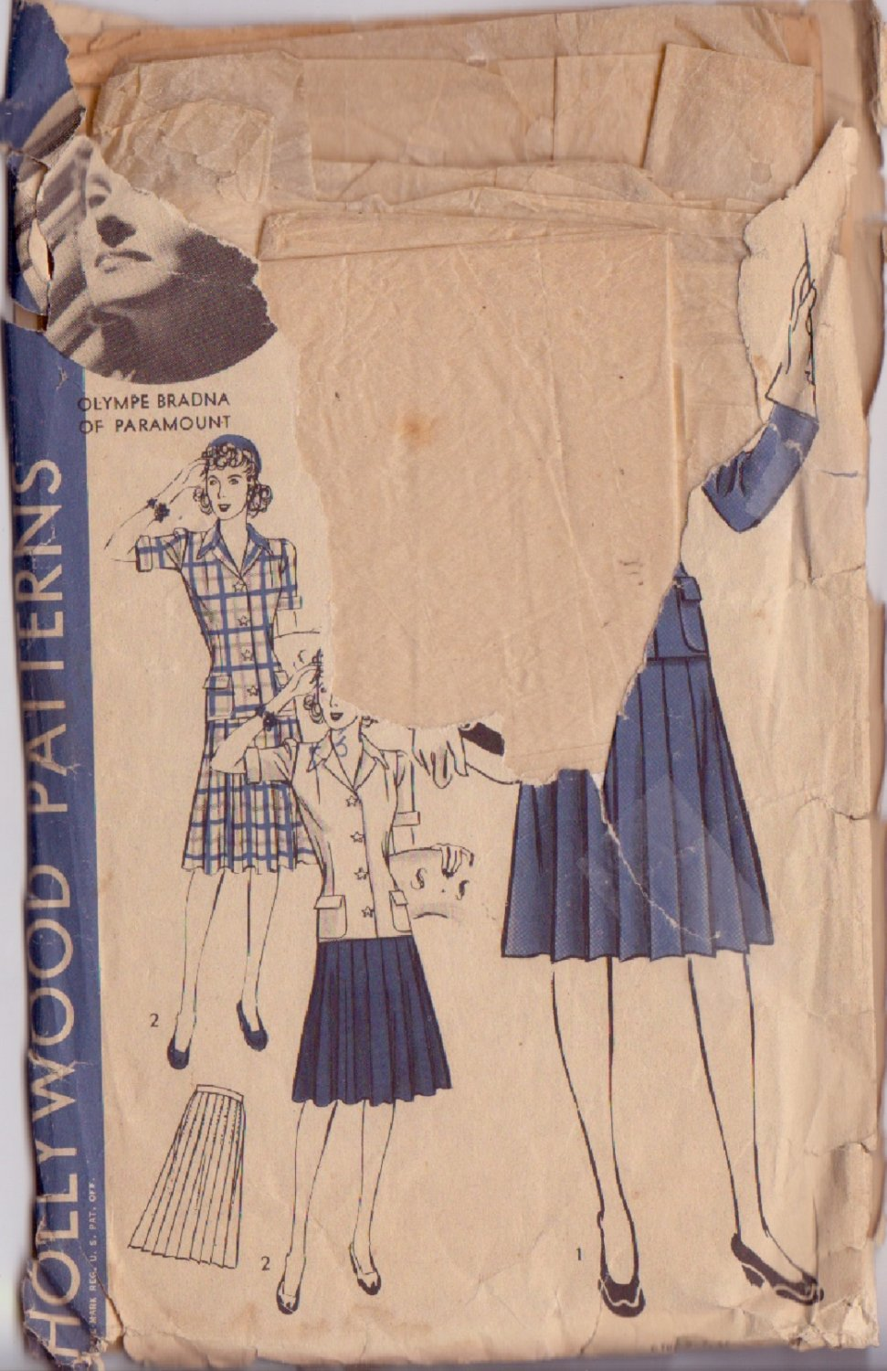 HOLLYWOOD PATTERN 632 MISSES' 2 PC SUIT 2 VARIATIONS SZ 16 OLYMPE BRADNA
