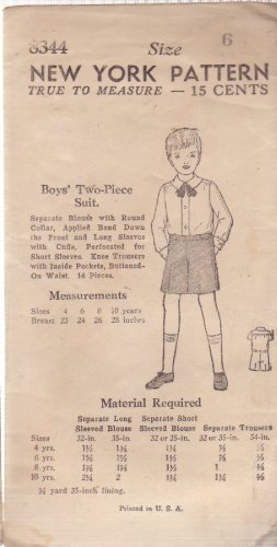 NEW YORK UNPRINTED VINTAGE PATTERN 8344 30/40'S BOY'S 2-PIECE SUIT SIZE 6