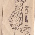 VINTAGE UNPRINTED PATTERN 3676 MISSES' APRON SIZE SMALL 32/34