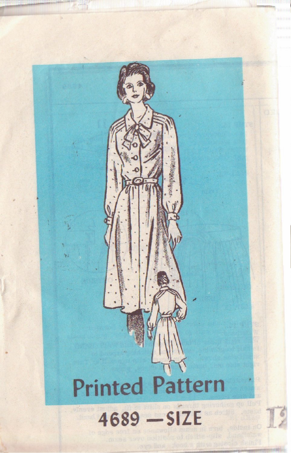 VINTAGE PRINTED PATTERN 4689 MISSES' DRESS SIZE 12