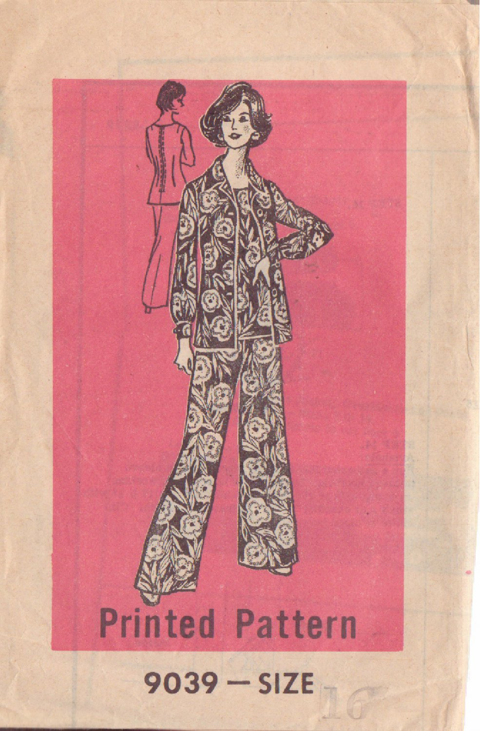 PRINTED PATTERN 9039, DATED 1975, SIZE 16 MISSES' 3 PC PANT SET