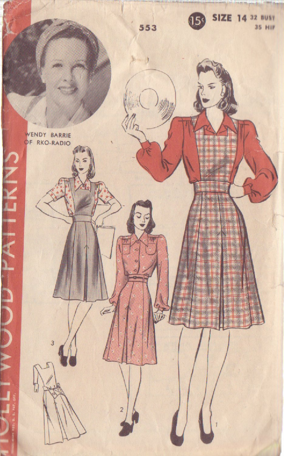 HOLLYWOOD PATTERN 553 MISSES� JUMPER, SKIRT, BLOUSE SIZE 14 WENDY BARRIE
