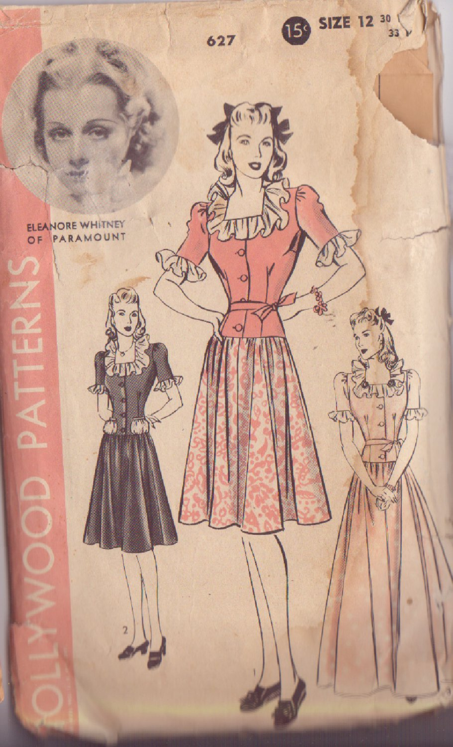 HOLLYWOOD PATTERN 627 MISSES� DRESS IN 2 VARIATIONS SIZE 12 ELEANORE WHITNEY