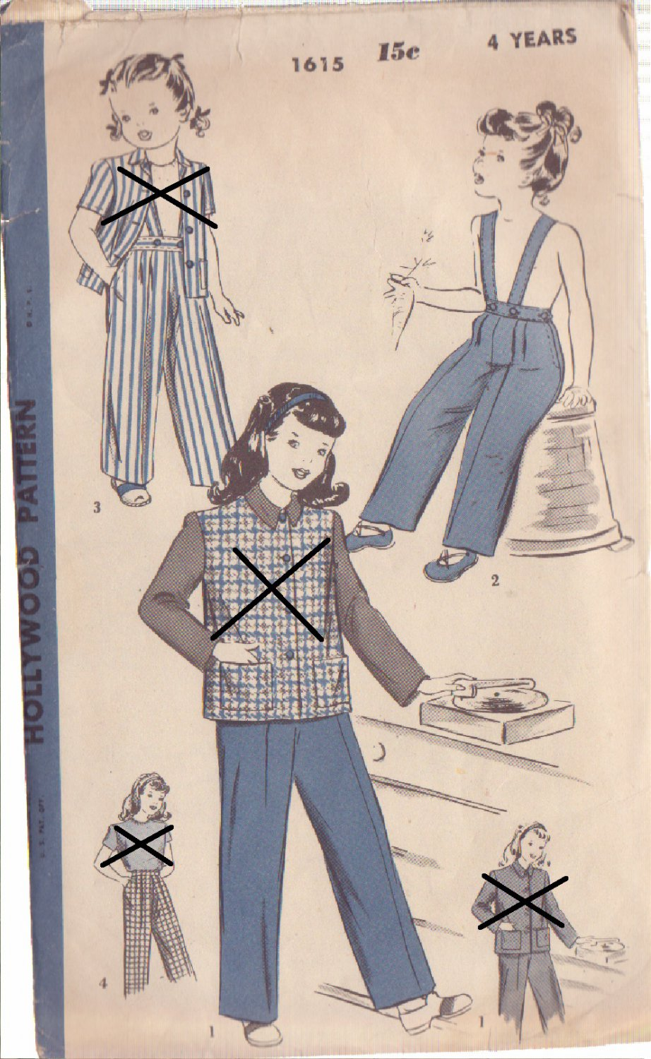 HOLLYWOOD VINTAGE UNPRINTED PATTERN 1615 GIRL'S SLACKS SIZE 4