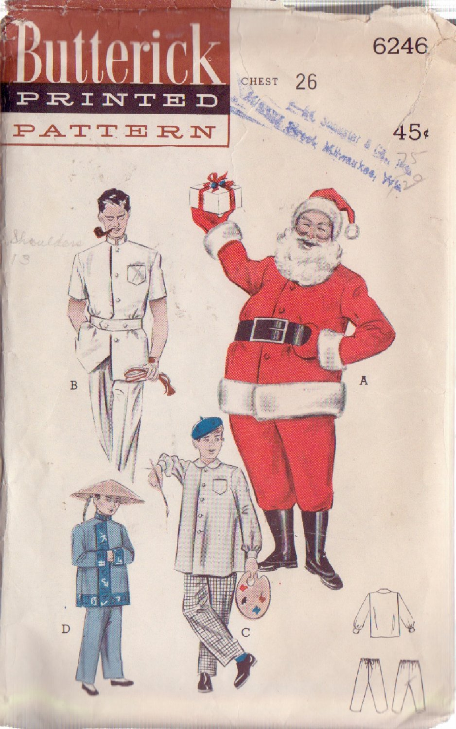 Butterick pattern 6246 Child�s Santa, Vintage Dr., Smock, Chinaman Costumes size 6/8