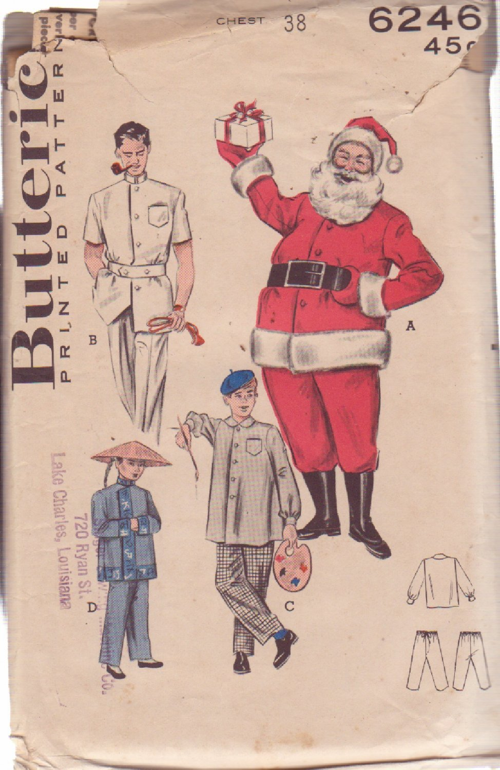 Butterick pattern 6246 Adult�s Santa, Vintage Dr., Smock, Chinaman Costumes size 38