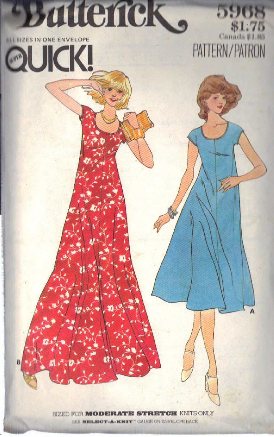 Butterick vintage pattern 5968 Misses� dress in 2 lengths sizes S/M/L