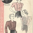 HOLLYWOOD PATTERN 1421 MISSES' SIZE 16 40'S BLOUSE 3 VARIATIONS