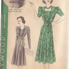HOLLYWOOD PATTERN 1583 SZ 14 MISSES' 30'S DRESS IN 2 VARIATIONS CLAIRE TREVOR