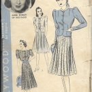 HOLLYWOOD PATTERN 1762, 30/40'S 1 PIECE FROCK, JACKET SZ 18  3 VARIATIONS ANNE SHIRLEY