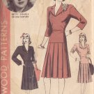 HOLLYWOOD PATTERN 718, 40'S 2 PIECE DRESS SZ 16 FEATURING BETTY GRABLE