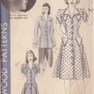 HOLLYWOOD PTTRN 766 MISSES' 40'S  SZ 14 1-PIECE COAT DRESS OR SMOCK BETTY GRABLE