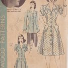 HOLLYWOOD PTTRN 766 MISSES' 40'S  SZ 16 1-PIECE COAT DRESS OR SMOCK BETTY GRABLE