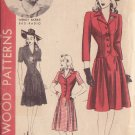 HOLLYWOOD PATTERN 785 MISSES' 40'S  SZ 14 ONE PIECE DRESS WENDY BARRIE