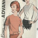 ADVANCE VINTAGE PATTERN 2814 MISSES' 60'S SZ 14 BLOUSE IN 2 STYLES