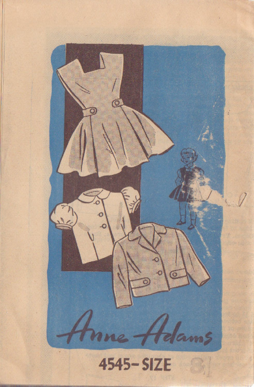 VINTAGE ANNE ADAMS PATTERN 4545 60'S SIZE 8 GIRLS JUMPER JACKET BLOUSE