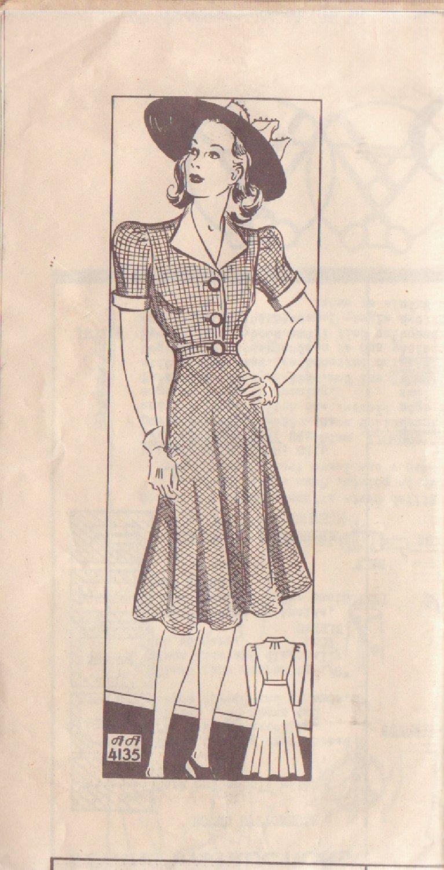 ANNE ADAMS UNPRINTED PATTERN SZ 14 4135 MISSES� 40'S 1-PIECE DRESS