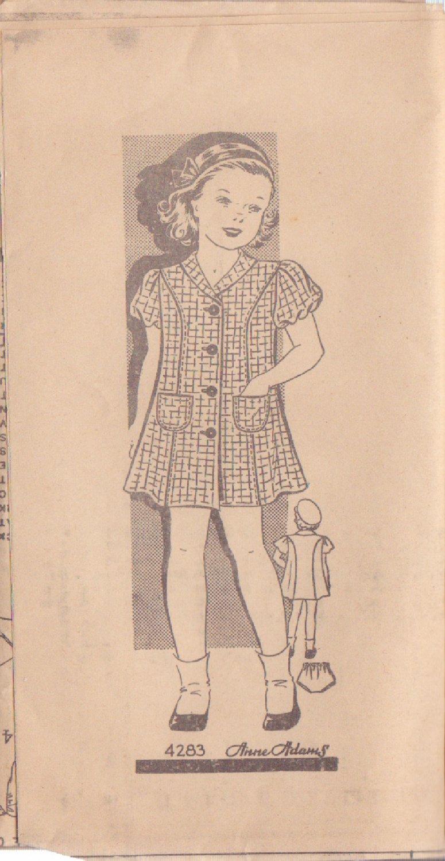 VINTAGE ANNE ADAMS PATTERN 4283 SIZE 6 GIRLS DRESS AND PANTIES